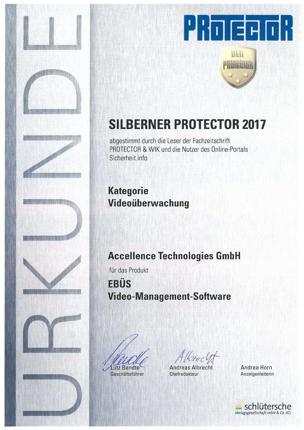 Urkunde PROTECTOR Award 2017